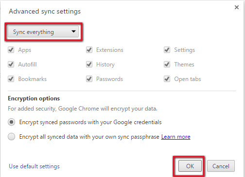 backup in chrome