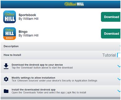 William Hill Android & iOS Apps