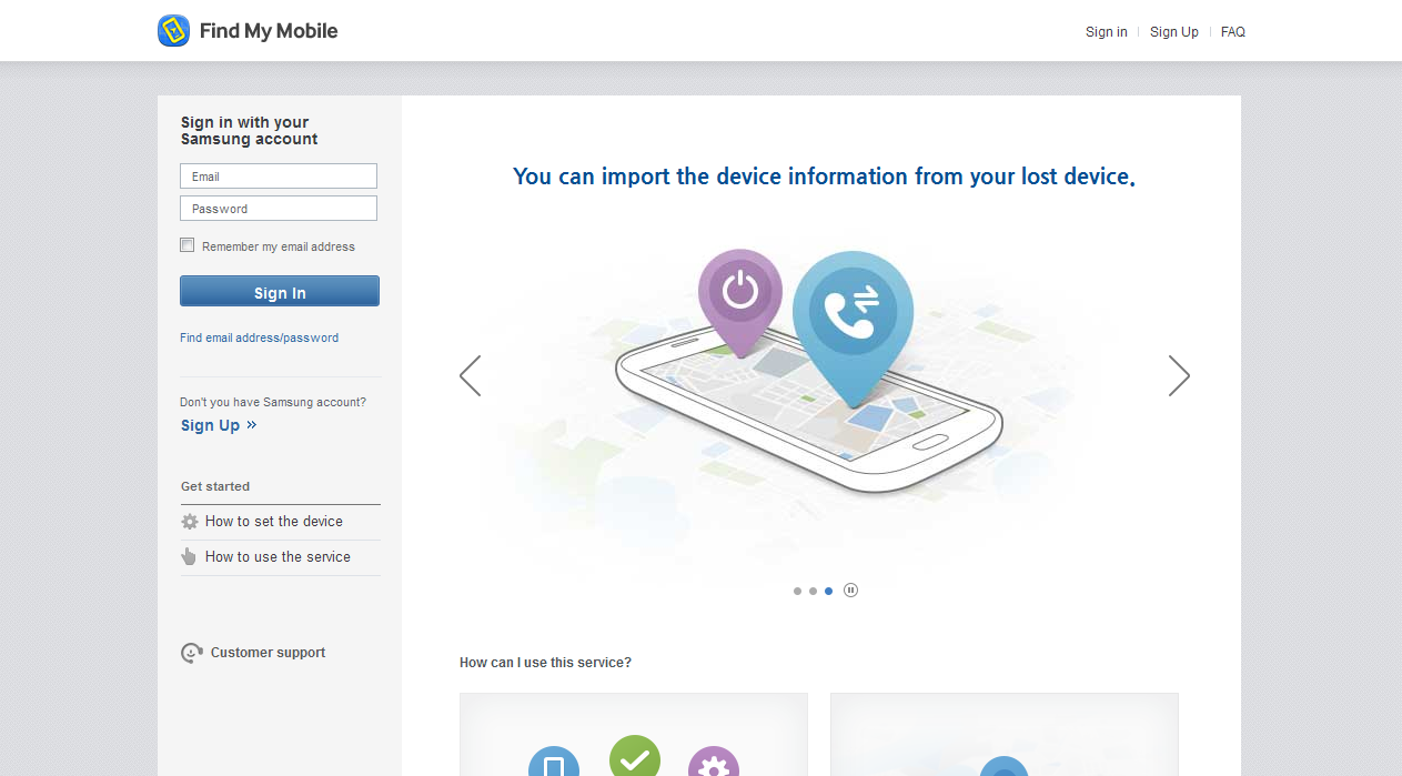 samsung application for finding mobile lost