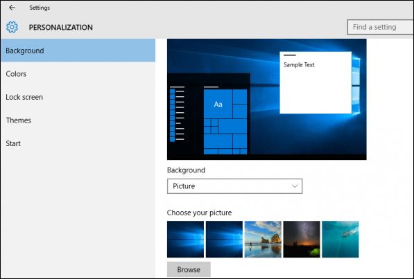 personalization menu